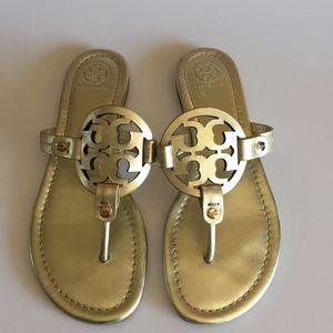 Tory Burch 'Miller' Flip Flops Metallic Spark Gold